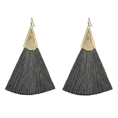 Gift House Thread Tassel Earrings Bohemian Fan Shape Fringe Drop Dangle Earrings Fish Hook for Women Girls Daily Wear, Office, Party etc ()