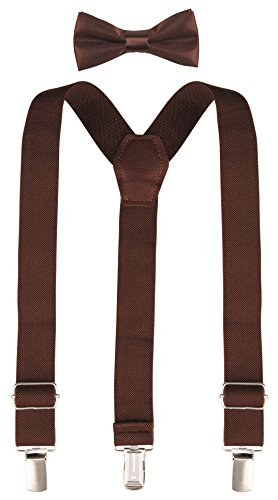 Lilax Boys Solid Color Adjustable Elastic Suspender & Bow Tie for Kids and Baby 26'' Brown - Brown 26'