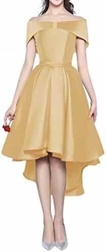 a73bacf1b5b Kevins Bridal Women s High Low Off Shoulder Bridesmaid Prom Dresses Cap  Sleeves