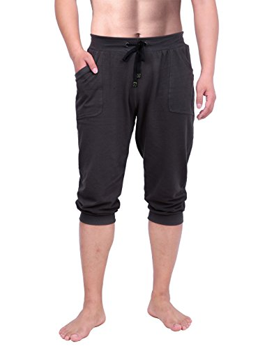 HDE Mens Workout Jogger Casual Waistband Sport Training Cuffed Yoga Capri Pant Charcoal