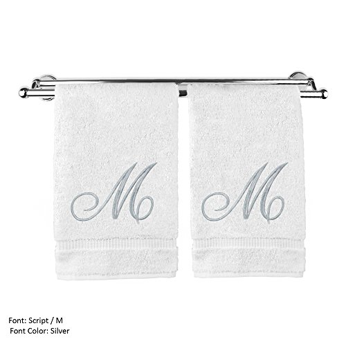 (Monogrammed Hand Towel, Personalized Gift, 16 x 30 Inches - Set of 2 - Silver Embroidered Towel - Extra Absorbent 100% Turkish Cotton- Soft Terry Finish - For Bathroom, Kitchen and Spa- Script M White)