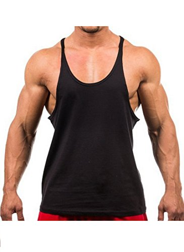 Chick Tank Top - Yaker Mens Sexy Fitness Bodybuilding Gym Tank Tops, Large, Black