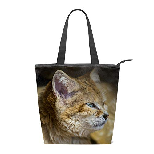 (Women Canvas Shoulder Bag, Animal Wildcat Bag Casual Handbag Shopping Bag Travel Beach Tote Bag for Women Ladies Girls)