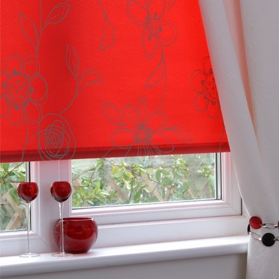 Sunlover Accents Patterned Thermal Roller Blind, Clematis Tango Red, W180cm