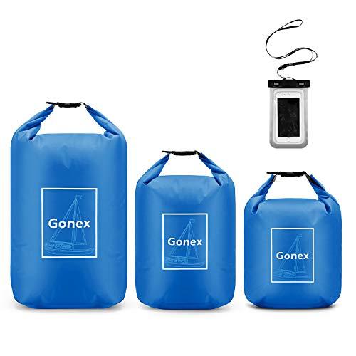 Gonex Waterproof Dry Bag Set Floating Roll-Top Dry Sack Stuff Sack Storage Bag for Kayaking Boating Canoeing Swimming…