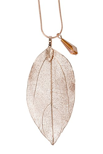 (SPUNKYsoul Long Leaf Filigree Necklace with Faceted Crystal in Silver, Gold and Gun Metal & Rose Gold Snake Chain Gift for Women Collection (Necklace Rose Gold))