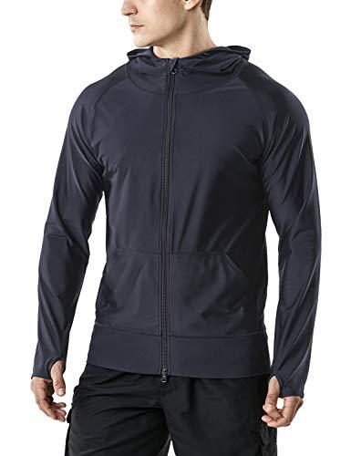 TSLA Men's UPF 50+ Zip Swim Front Long Sleeve Top Rashguard, Zip Hoodie(msz05) - Dark Grey, X-Small -