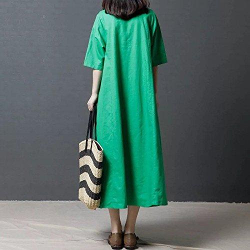 dtente Longue Jupe Manches XL Occasionnels Robes Coton Robe vtements Jin Code Occasionnels Gros de Lin MiGMV et 150 135 Courtes Green Broderie wqSYt00