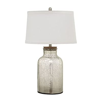Coaster Home Furnishings Drum Table Lamp Antique Speckle and White - Set includes: One (1) table lamp Materials: Metal, fabric and glass Fabric Color: White - lamps, bedroom-decor, bedroom - 41m8%2BdHyykL. SS400  -