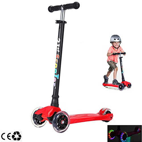 Micro 3 Wheel Scooter for Kids 4 Years Old and Up Scooters for Toddlers with Adjustable Height 180lb (Red) -