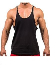 0eaa8a523b5742 Men s Blank Stringer Y Back Bodybuilding Gym Tank Tops