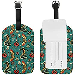 Travel Turquiose Snake Leather Luggage Tags with Black Strap, Set of 1