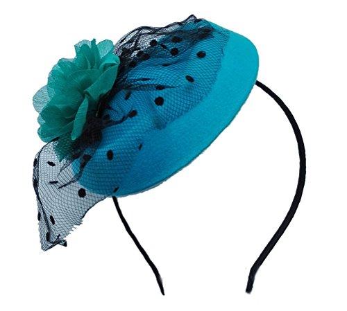 Fascinator Hair Clip Head Hoop Veil Wool Flower Hat Derby Cocktail Party Wedding Blue (Cute Flapper Costumes)