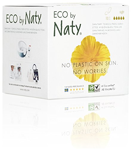 Eco von Naty Damenbinden - Nacht, 10 Binden. Sichere, saugfähige und pflanzliche Damenbinden. Vegan. 0% Plastik auf der Haut