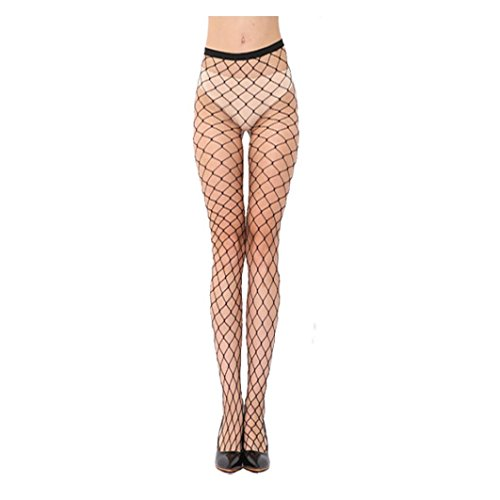 Sexy Womens Lingerie Fishing nets Lace Top Garter Belt Thigh Stocking Pantyhose (Black-A)