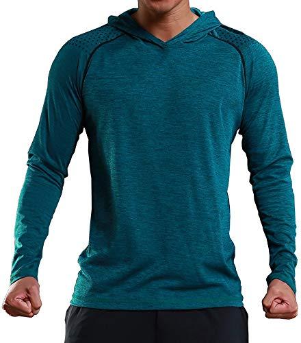 Rdruko Men's Gym Active Shirts Long Sleeve Hooded Running Sports Tee Tops(Green, US XL)