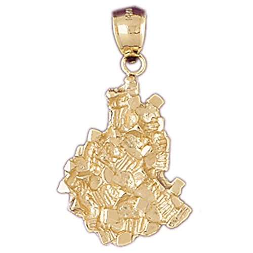 14K Yellow Gold Nugget Pendant - 36 mm (Nugget Gold 14k Pendant Yellow)