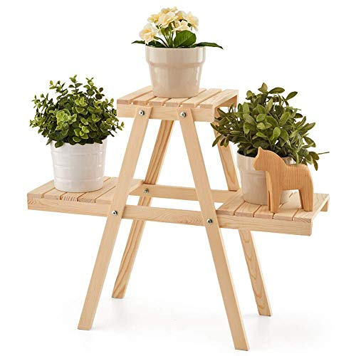 EZOWare Plant Rack, Wood Stepping Style Flower Succulents Leaves Pot 3 Shelves Stand for Indoor Outdoor Garden Greenhouse (Extra Garden Large Plant Pots)