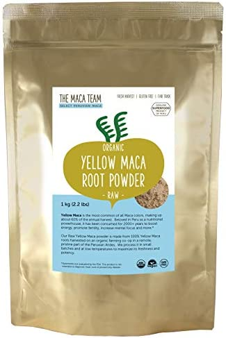 The Maca Team Yellow Maca Root Powder 100 Certified Organic Fair Trade GMO-Free 2.2 Pounds,111 Servings