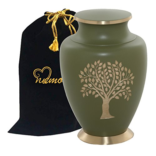 Tree of Life Cremation Urn - 100% Genuine Brass Tree of Life Urn - Truly Handcrafted Tree of Life Large Funeral Urn - Adult Brass Urn for Human Ashes