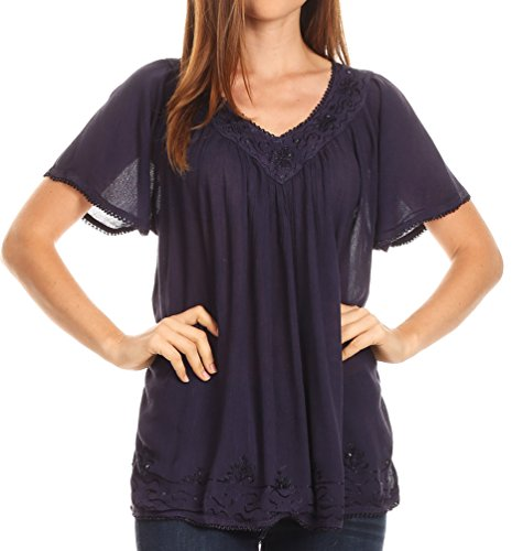 Sakkas 17785 - Emma Crinkle V-neck Short Sleeve Top Blouse with Embroidery and Sequin - Navy - OSP
