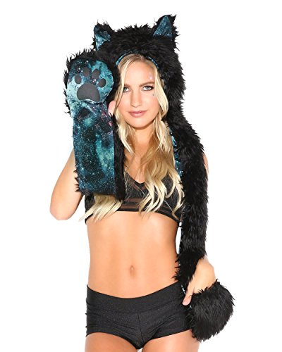iHeartRaves Panther Animal Hood, Hat, Scarf and PAW Mittens Furry Hoodie (Electric (Burning Man Cat Costume)