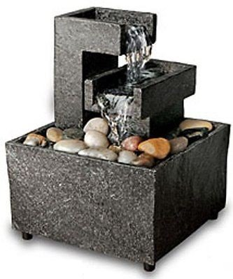Order Home Collection Cordless Meditation Tabletop Water Fountain with River Rocks (Square Shape)