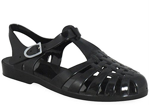 Ladies Beach Summer Clear Jelly Jellies Buckle Slingback Women Sandal Shoes Size Black St1 z3FTO