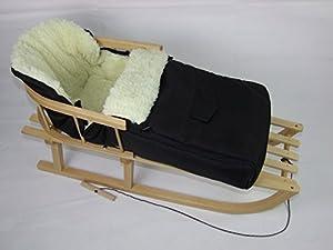 Babys-Dreams *KOMBIPAKET* Holzschlitten mit Rückenlehne + Zugleine +...