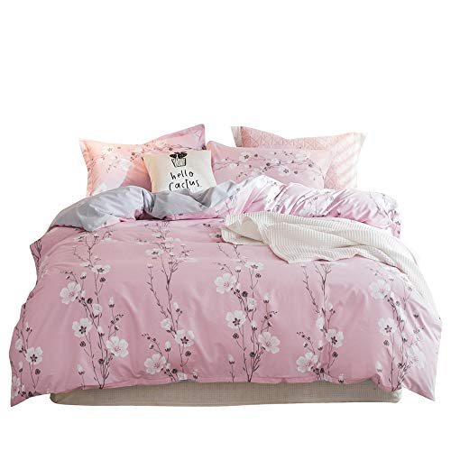 Twin 3 Pieces Floral Pattern Bedding Sets Girls Woman Brushed Microfiber Gray Pink Bedding Duvet Cover Set Botanical Flower Comforter Cover Sets, Zipper Closure, Soft, Hypoallergenic, Breathable, Chic