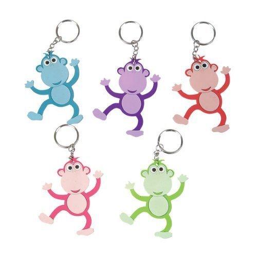 "~ 12 ~ Monkey Key Chains ~ 3"" Rubbery Pvc ~ New ~ Keychain Key Ring Zipper Pull"