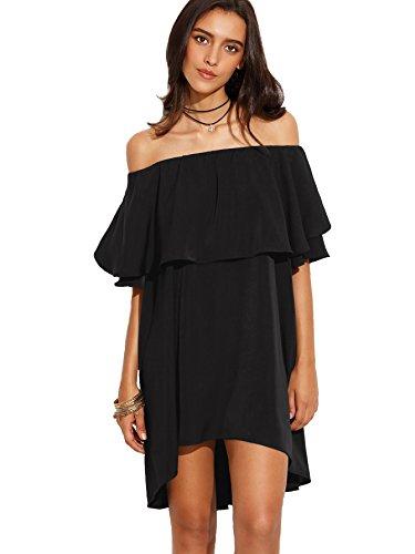 ROMWE Women's Off The Shoulder Ruffle Casual Loose Shift Dress Black S