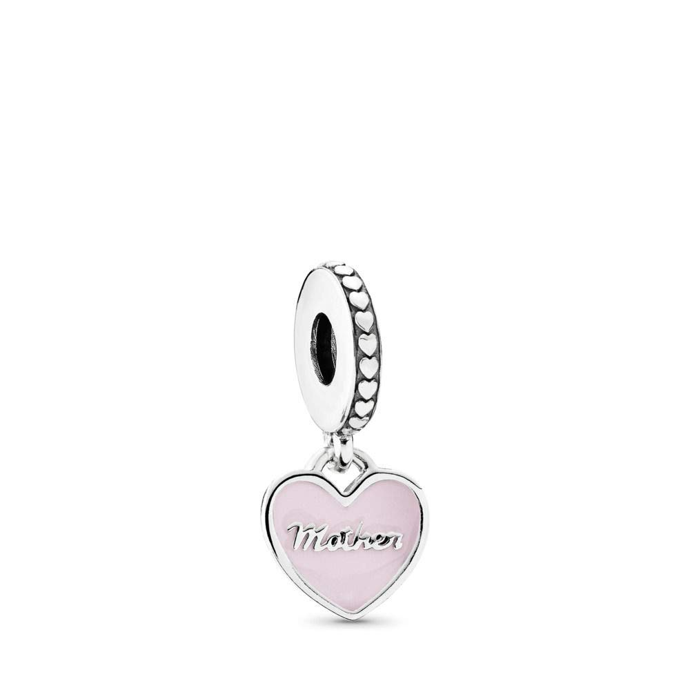 PANDORA Mother Daughter Hearts Dangle Charm, Sterling Silver, Soft Pink Enamel Clear Cubic Zirconia, One Size