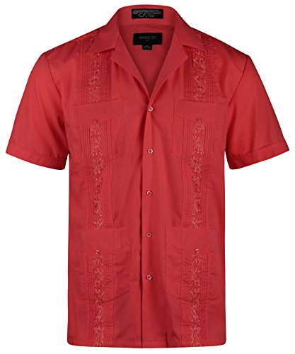 Ward St Men's Short Sleeve Cuban Guayabera, M, 15-15.5N, ()