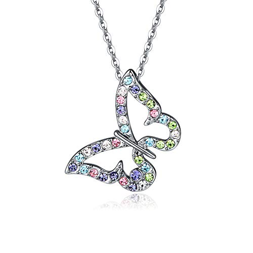 Charm Butterfly Multi-color Crystal Chain Pendant Necklace Fashion Gift for Women Girls (Style 1)