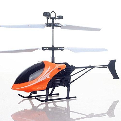 XIANG Mini Induction Helicopter Flashing Light Chargeable Aircraft Remote Sensing Plane Toys for Kids Orange