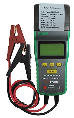 DY2015C Automotive Battery Tester With Printer 12V & 24V Voltage Battery Analyzer For Battery Status, Engine Activtion System, Charging System, Maximum Work Loading 24v Battery System