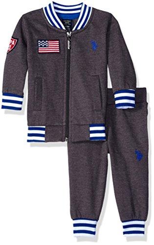U.S. Polo Assn. Boys' Fleece Jacket and Matching Pant, Medium Heather Gray, 18 Months
