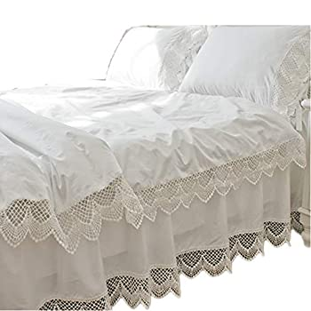 Image of Abreeze 3pcs Romantic Victorian Bed Set Lace Cotton Duvet Cover Bedding Set Twin