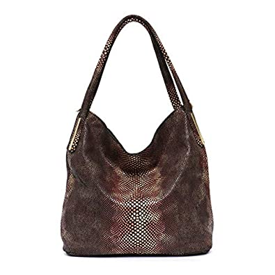 91715fbdfd HITSAN INCORPORATION MONFERE Brand Women Genuine Leather Hobo Handbags  Female Classic Serpentine Prints Pattern Tote Bags
