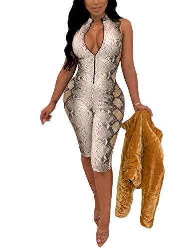 - ThusFar Women's Sexy Mock Neck Sleeveless Snakeskin Zip Up Bodycon Short Pants Romper Jumpsuit Party Clubwear Catsuit Beige M