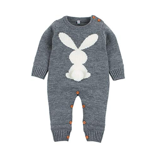 Cute Baby Rabbit - Newborn Baby Romper Cute Rabbit Knitting Infant Girls Jumpsuits Autumn One Piece Toddler Outfits Winter Kids Clothes(18-24M, Grey)