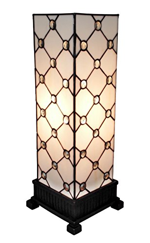 Amora Lighting AM105TL06 Tiffany Style Table Lamp White JEWEL 18 In