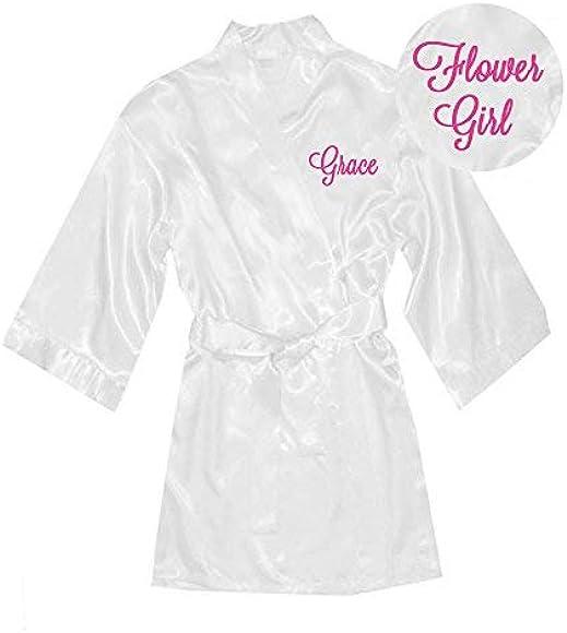 White Rhinestone Satin Flower Girl Robe