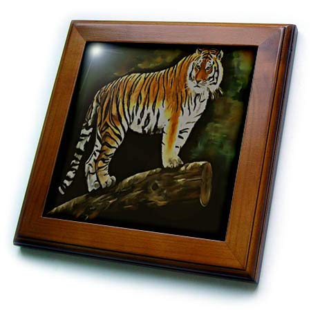 (3dRose Taiche - Acrylic Painting - Tiger - Tiger Standing On a Branch - 8x8 Framed Tile (ft_300753_1))