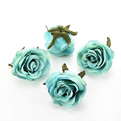 YELLOW GOLD OR SILVER SILK  ROSE HEADS 8cm 6 x ROSE GOLD CHOICE OF COLOUR