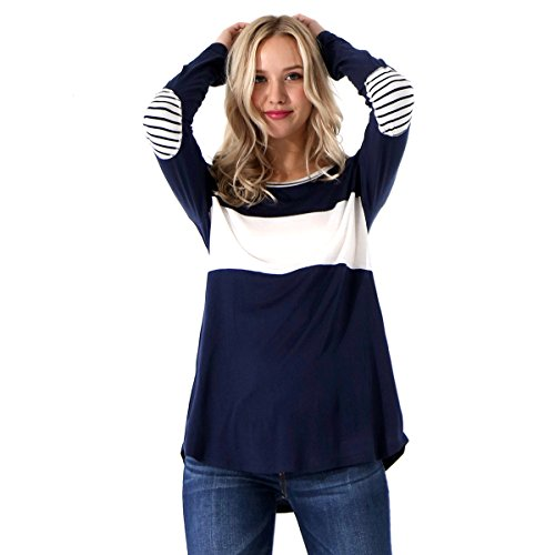 Preppy Doll Made In USA Women's Colorblock Top With Stripe Elbow Patch and Neck Band Long Sleeve Shirt (Navy, Large)