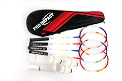 With the Pro Impact Badminton Set, you can enjoy a friendly game of badminton any time you want. The set comes complete with two badminton rackets, three feather shuttlecocks stored in a case, and a carrying bag so you and a friend can enjoy ...