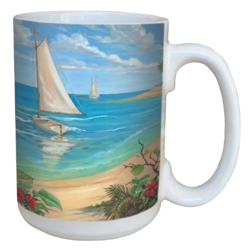 Tree-Free Greetings lm43411 Tropical Plantation Key Sailboat by Paul Brent Ceramic Mug with Full-Sized Handle, - Key Plantation