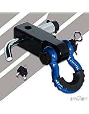 UTVJATV Shackle Hitch Receiver 2 inch with 3/4inch D Ring Shackle 13000 Lbs Break Strength for Towing and Recovery,2-Inch Receivers Trailer Hitch Lock Heavy Duty Solid Recovery Kit